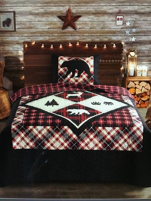 Diamond Bear King Quilt Set