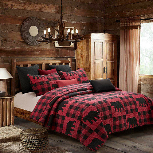 Buffalo Plaid Red KING SET  RED BUFFALO CHECKS King QUILT SET : LODGE
