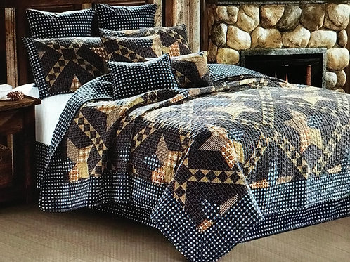 """Paducah Star"" Brown Patchwork Quilt TWIN SET"