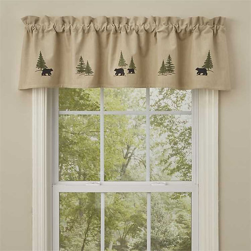Black Bear Embroidered Lined Valance