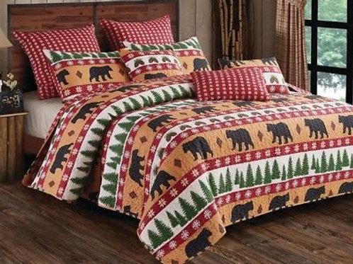 Winter Bear 3pc King Size Quilt Pillow Shams Set