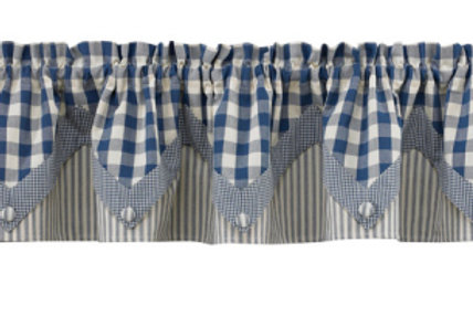 York Lights Lined Point Valance - Blue