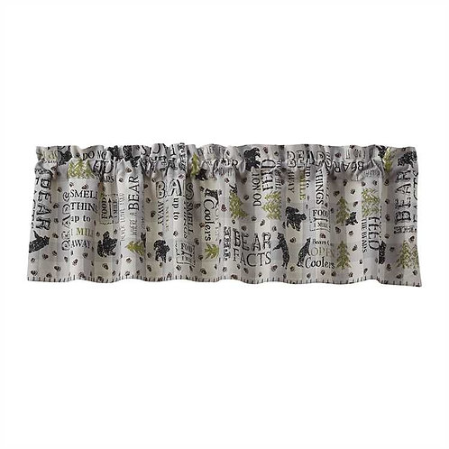 """Bear Facts  Lined Valance """"60x14"""""""