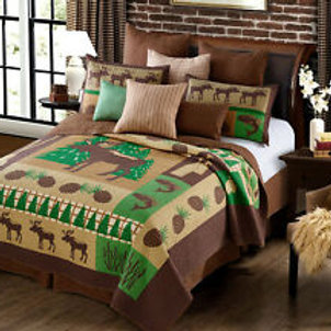 Primitive Rustic Moose Wilderness Lodge Quilt and Sham Set 3 Piece (Green/Brown,