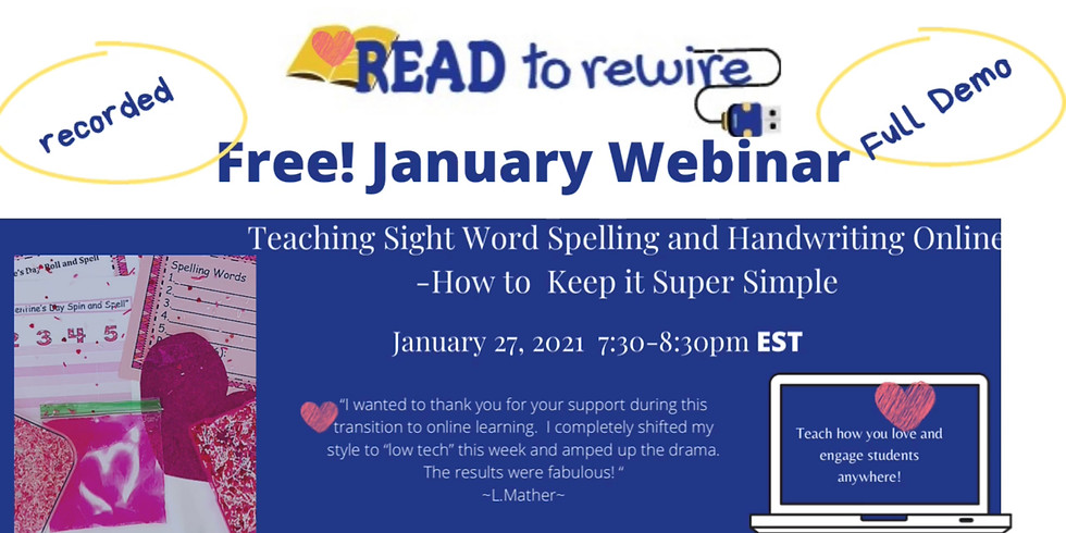 Teaching Handwriting and Spelling Online 1/27 7:30-8:30 pm EST
