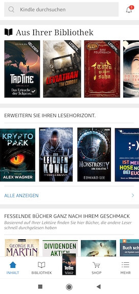 Kindle App Bibliothek