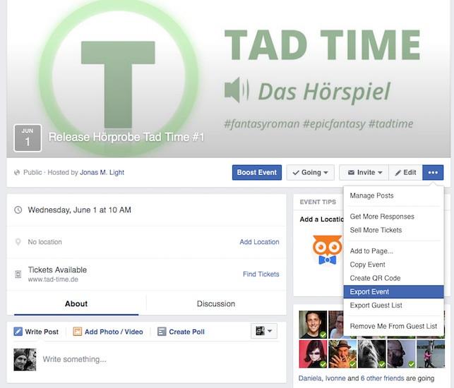 Hinweis Event Hörprobe Tad Time #1 in Kalender exportieren