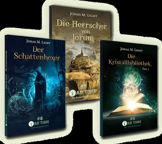 3 Buchcover Fantasyromane Tad Time