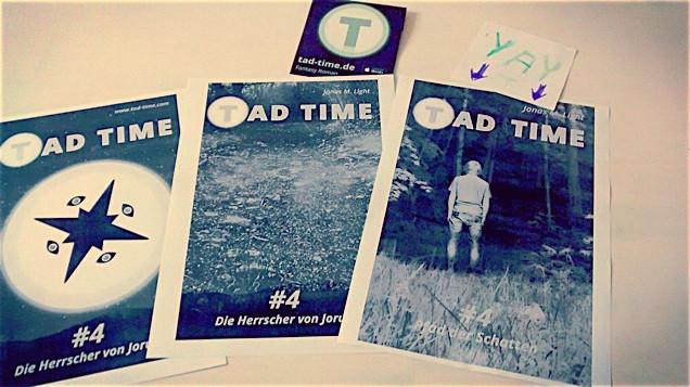 Tad Time Cover für Teil 4 ausgebreitet auf Tisch