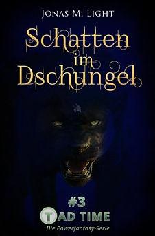 Fantasyroman Tad Time #3: Schatten im Dschungel. Monster Mabaridor blickt böse von Cover.