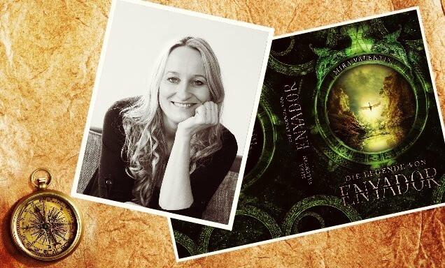 Porträtfoto Mira Valentin und Cover Die Legende von Enyador
