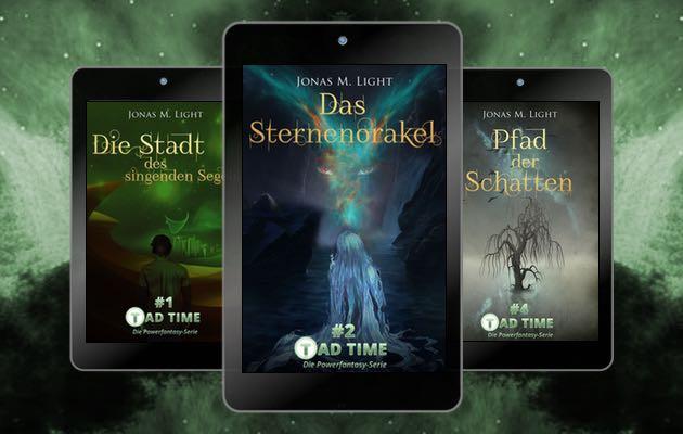 Fantasy-Cover Tad Time - 3 Beispielcover als Teaser auf grünem Hintergrund