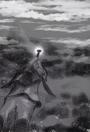 Fantasyroman Tad Time   Illustration: Tad fliegt mit Zaubergürtel über Landschaft