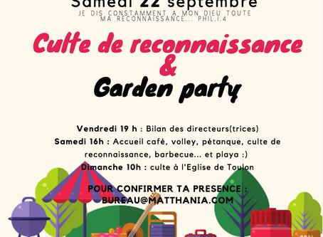 Culte de Reconnaissance & garden party