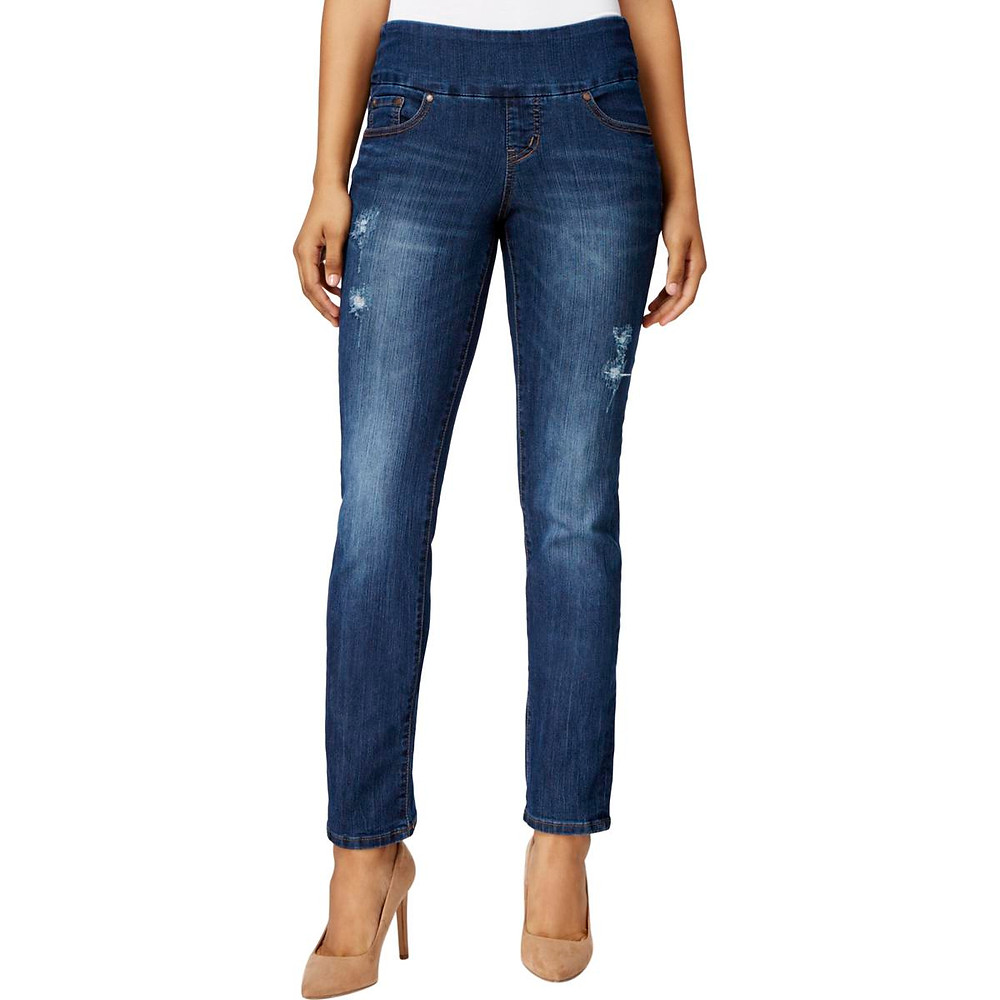 A style trending in denim now, the high-rise straight leg jeans.
