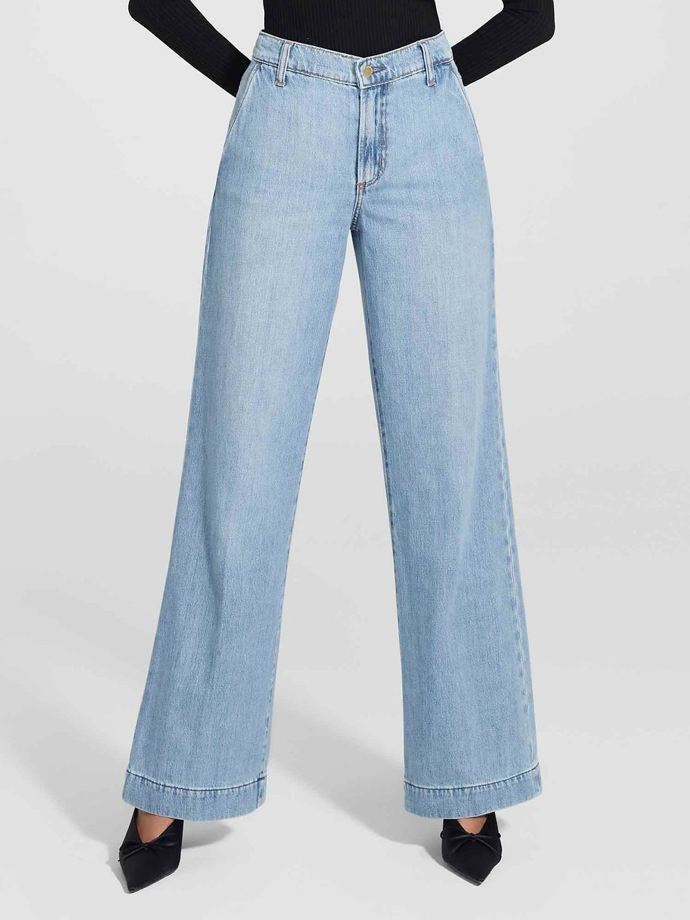 Featured on Nobody Denim's Website, these Wide leg jeans are a popular style among the anti-skinny trend.