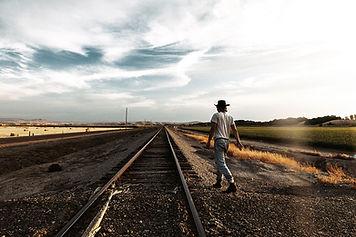 Man near railroad