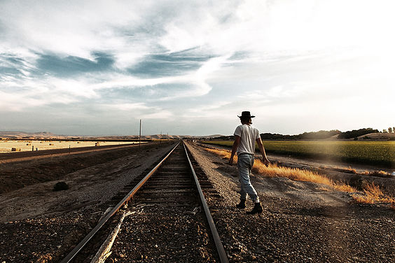 Man near railroad