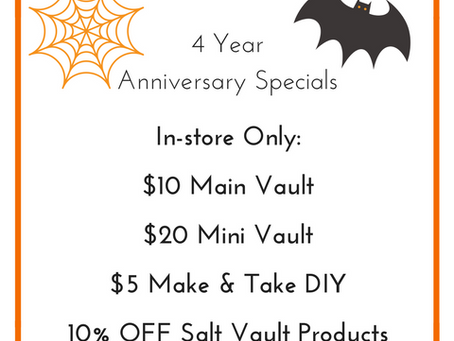 Come help us celebrate our 4 year anniversary on October 31st!