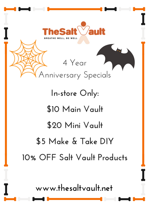 Specials include $10 Main Vault, $20 Mini Vault, $5 Make & Take DIYs, and 10% OFF Salt Vault Products!