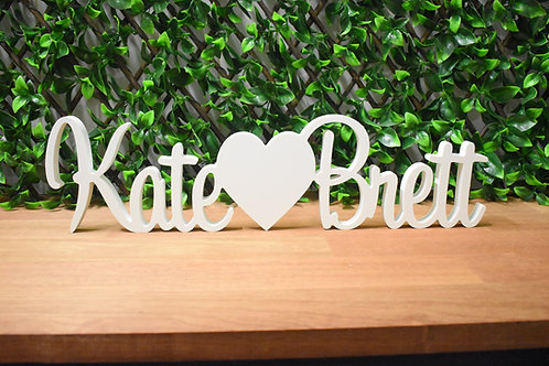 Custom Name heart Name - White Name Sign