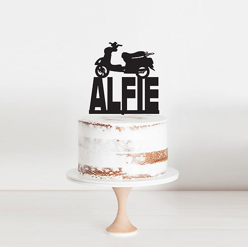 Vespa Scooter - Custom Name Cake Topper
