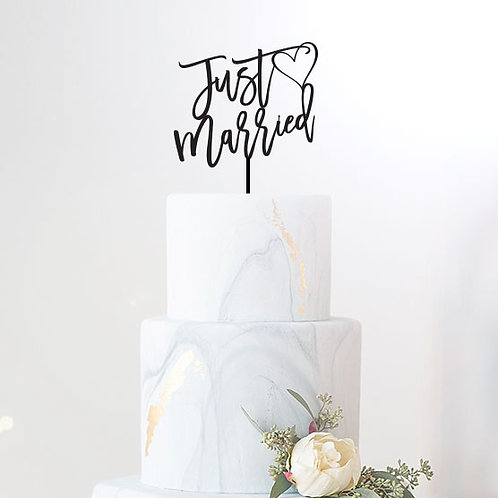 Script Just Married with Heart - Wedding Cake Topper