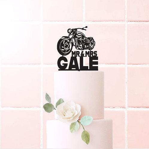 Mr&Mrs Surname - Harley Cake Topper