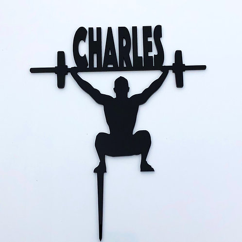 Crossfit Weightlifter with Name - Birthday Cake Topper