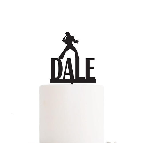 Elvis Silhouette with Name - Birthday Cake Topper