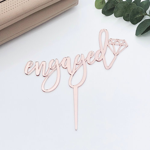 Scripted Engaged with Diamond - Cake Topper