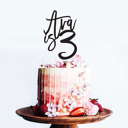 Script Name and Age - Birthday Cake Topper