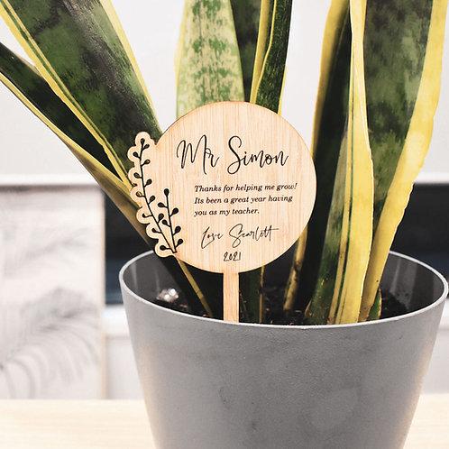 Personalised Pot Plant Stick - Teachers Gift