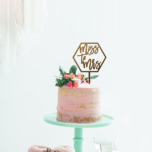 Miss to Mrs Hex - Cake Topper