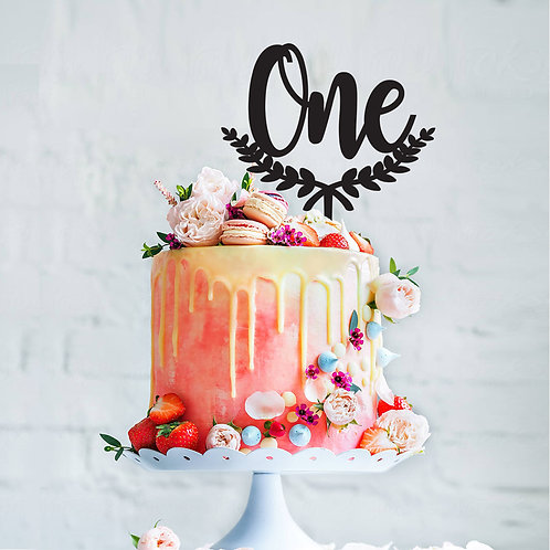 One Wreath - Birthday Cake Topper