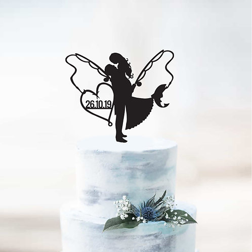 Bride & Groom Fishing with Date - Custom Cake Topper