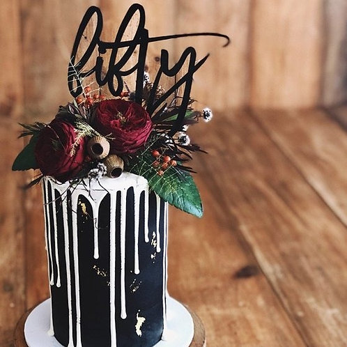 Script Fifty - Birthday Cake Topper