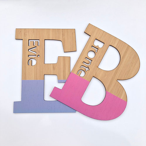Custom Bamboo Letter with Name - Dipped