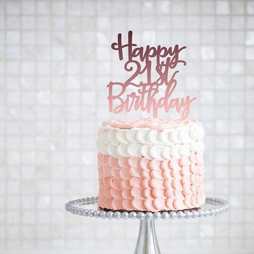 Happy 21st Birthday - Cake Topper
