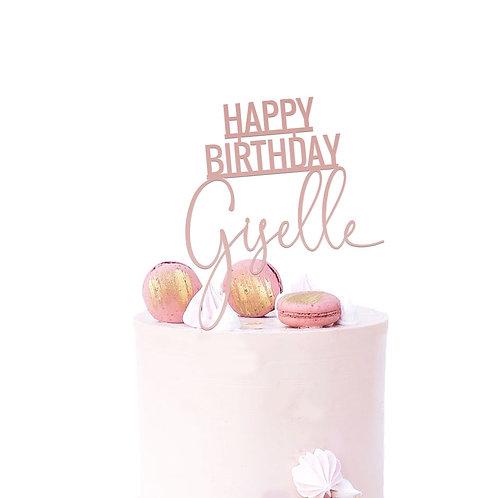Block Script Name - Birthday Cake Topper