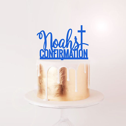 Confirmation with Cross - Custom Cake Topper