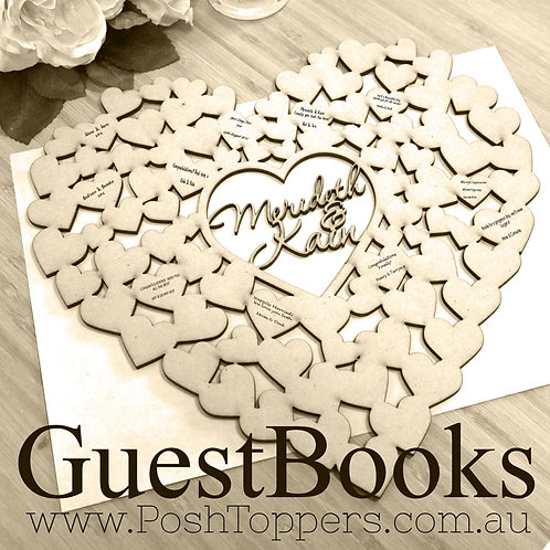 Heart Shaped Guest Book - Custom Name/s or Age