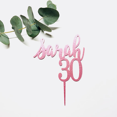 Script Name + Age - Birthday Cake Topper