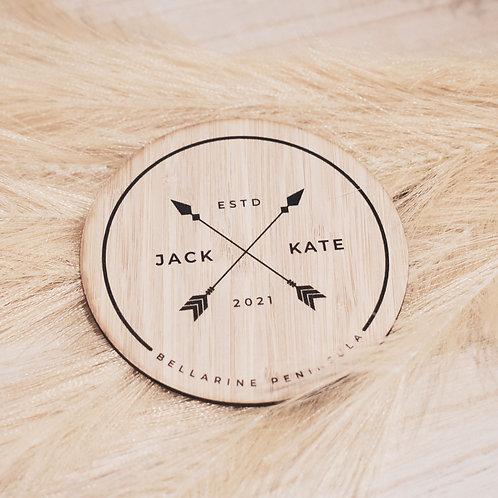 Wedding Wooden Coaster Set - Arrows