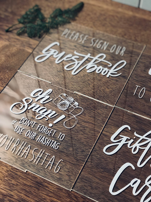 Acrylic Table Signs - Various