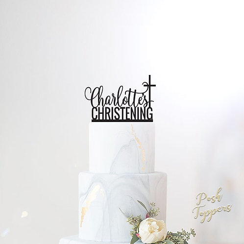Christening Name with Cross - Cake Topper