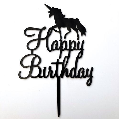Happy Birthday Unicorn - Birthday Cake Topper