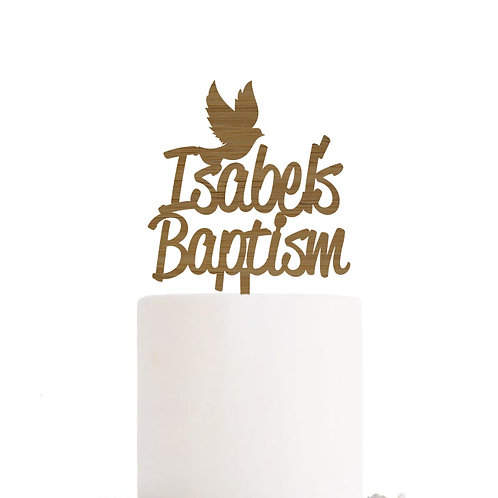 Personalised Dove Baptism - Religious Cake Topper