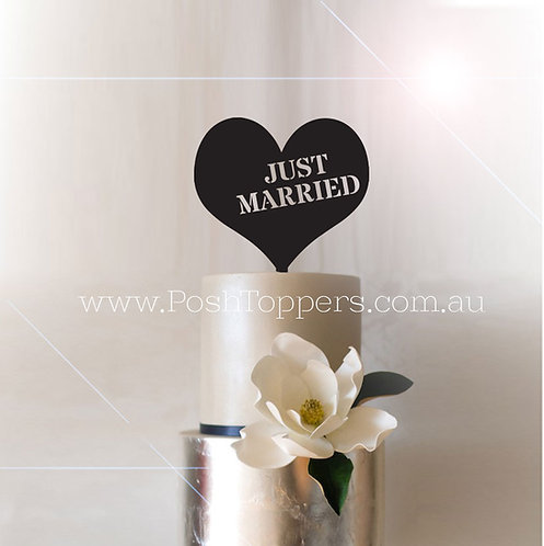 Just Married Stencil Heart