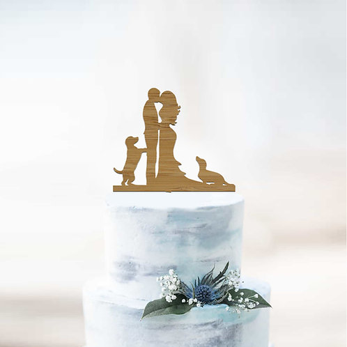 Bride and Groom with Dachshund Dogs - Cake Topper